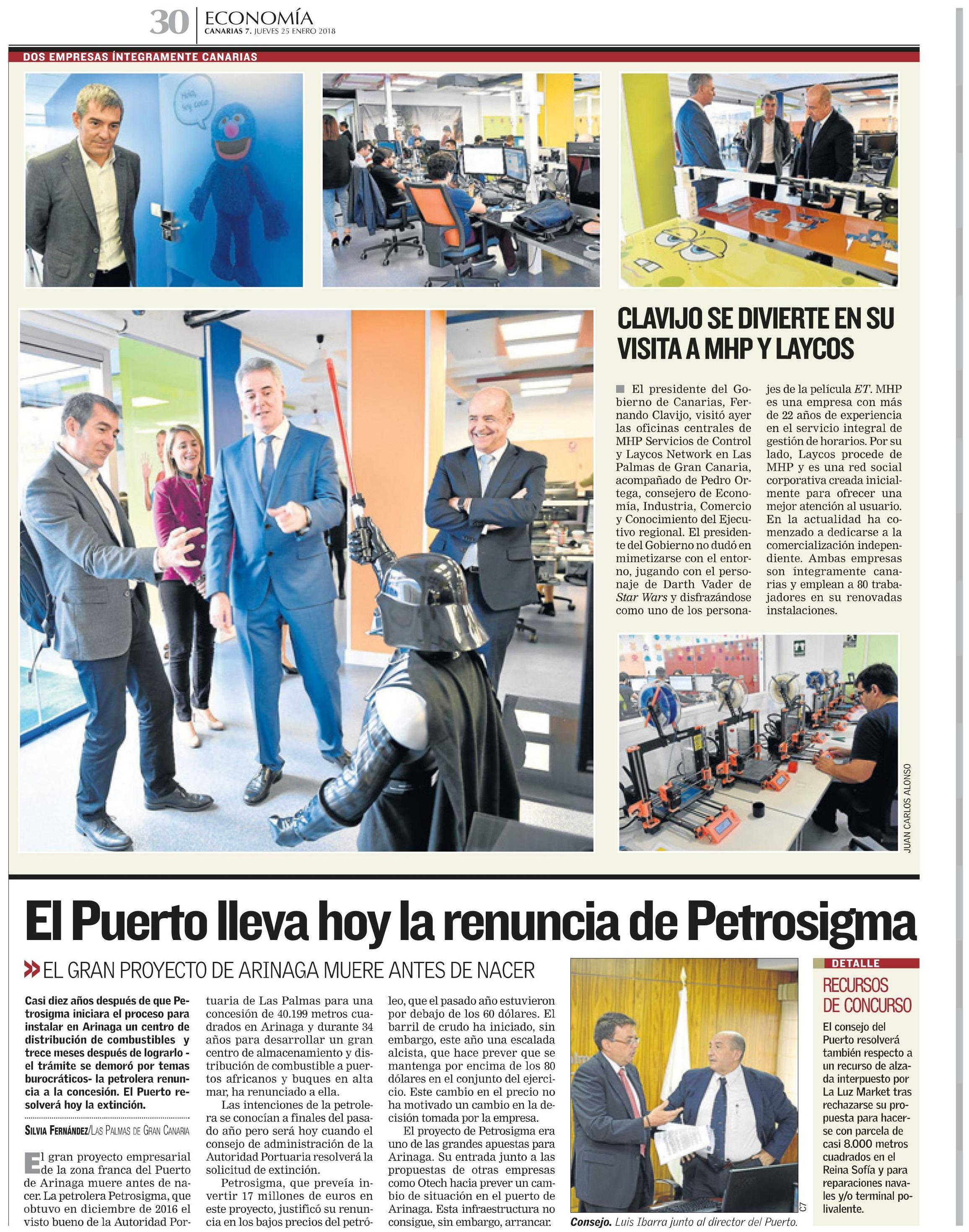 Visita del presidente del Gobierno de Canarias a las oficinas de MHP y Laycos
