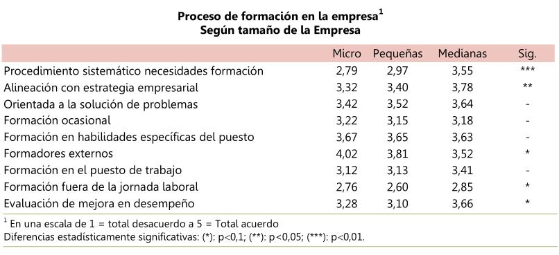 Proceso de formación en la empresa, según tamaño de la empresa
