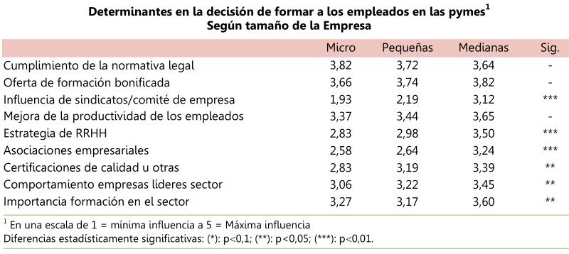 Determinantes en la decisión de formar a los empleados en las pymes, según tamaño de la empresa